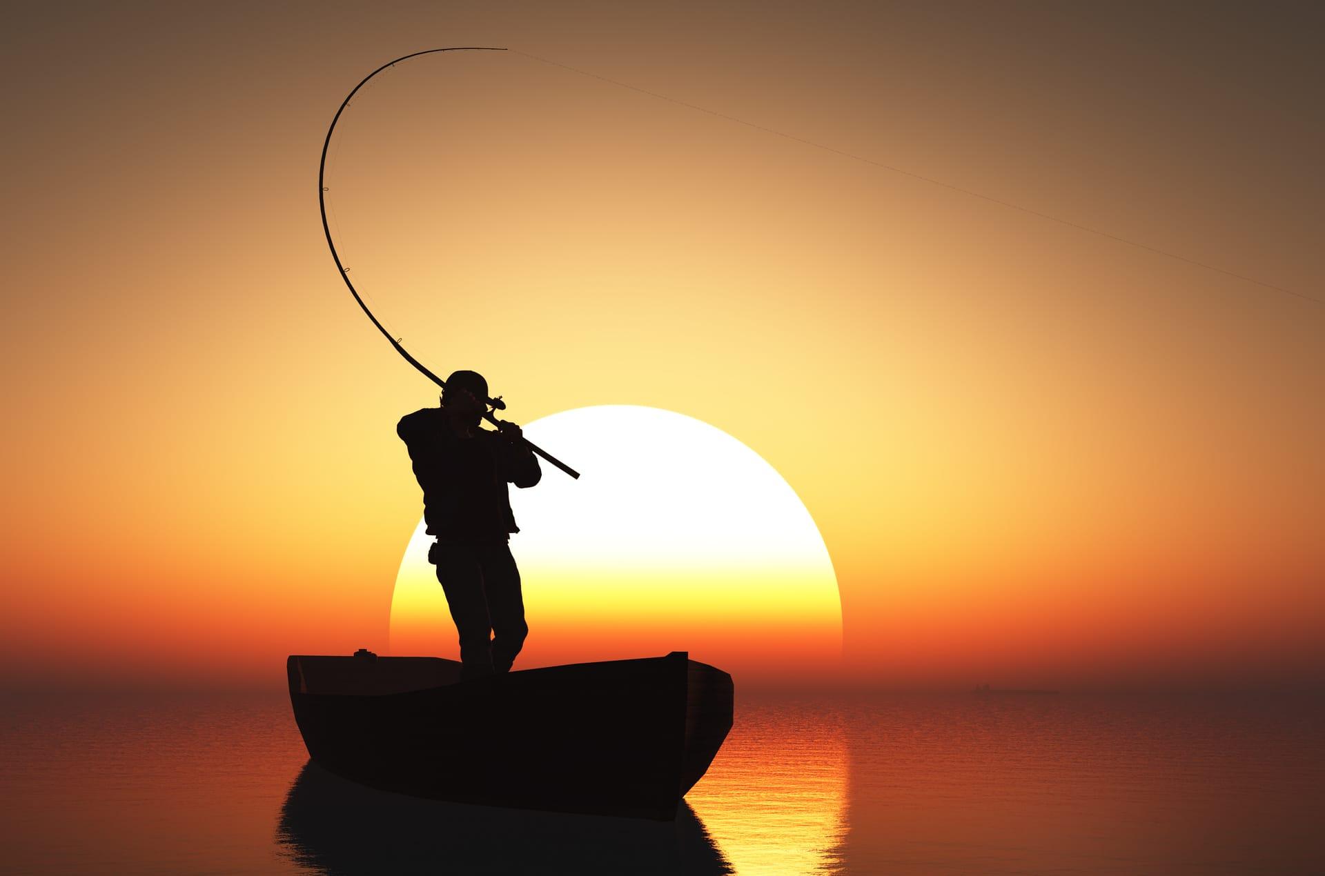 Man Fishing in Sunrise
